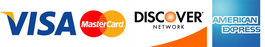 Accepting, Visa, Mastercard, Discover and American Express