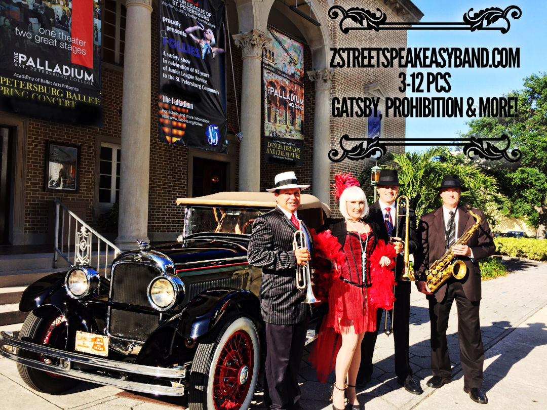 Gatsby Band, 20s Band, Speakeasy Band, Florida, United States, Orlando, Tampa, Sarasota, Saint Petersburg, Clearwater, Ybor City, Palm Beach, Miami, Ponte Vedra, Marco Island, Boca Raton, Amelia Island, Fort Lauderdale, Naples, Bradenton, Fort Myers, Jacksonville, Brooksville
